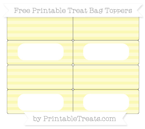 Free Pastel Light Yellow Horizontal Striped Simple Treat Bag Toppers