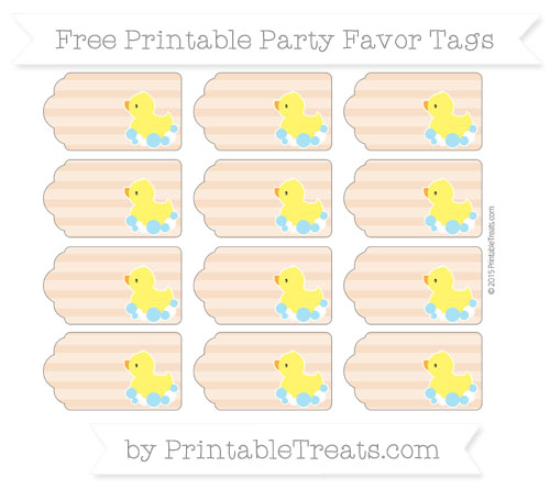 Free Pastel Orange Horizontal Striped Baby Duck Party Favor Tags