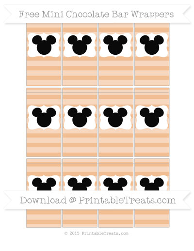Free Pastel Orange Horizontal Striped Mickey Mouse Mini Chocolate Bar Wrappers
