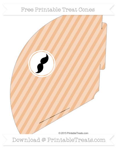 Free Pastel Orange Horizontal Striped Mustache Treat Cone