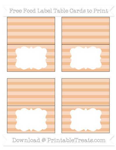 Free Pastel Orange Horizontal Striped Simple Food Labels