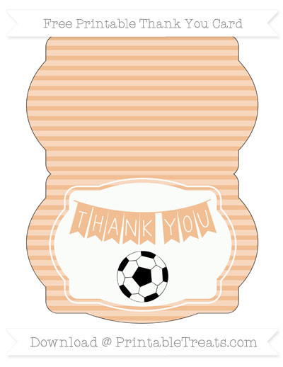 Free Pastel Orange Horizontal Striped Soccer Thank You Card
