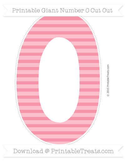 Free Pastel Pink Horizontal Striped Giant Number 0 Cut Out
