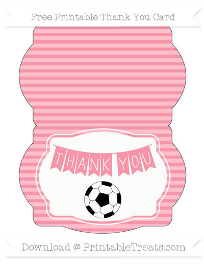 Free Pastel Pink Horizontal Striped Soccer Thank You Card