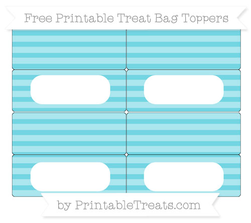 Free Pastel Teal Horizontal Striped Simple Treat Bag Toppers