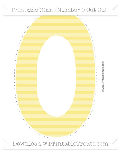 Free Pastel Yellow Horizontal Striped Giant Number 0 Cut Out