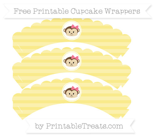 Free Pastel Yellow Horizontal Striped Girl Monkey Scalloped Cupcake Wrappers