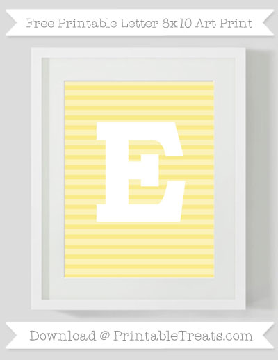 Free Pastel Yellow Horizontal Striped Letter E 8x10 Art Print