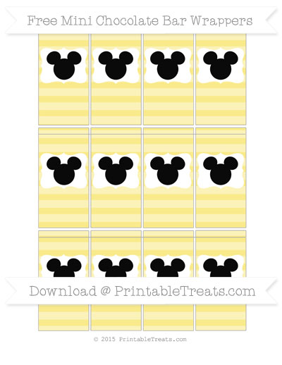 Free Pastel Yellow Horizontal Striped Mickey Mouse Mini Chocolate Bar Wrappers