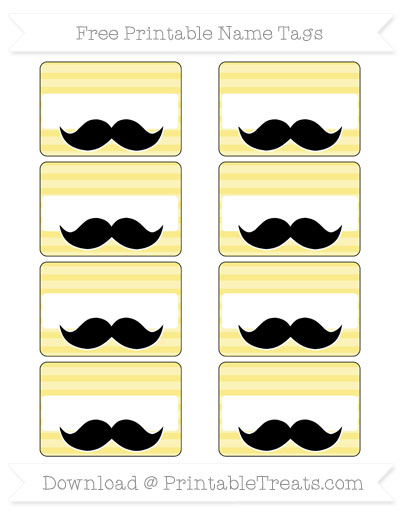 Free Pastel Yellow Horizontal Striped Mustache Name Tags