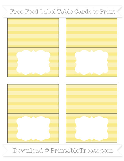 Free Pastel Yellow Horizontal Striped Simple Food Labels