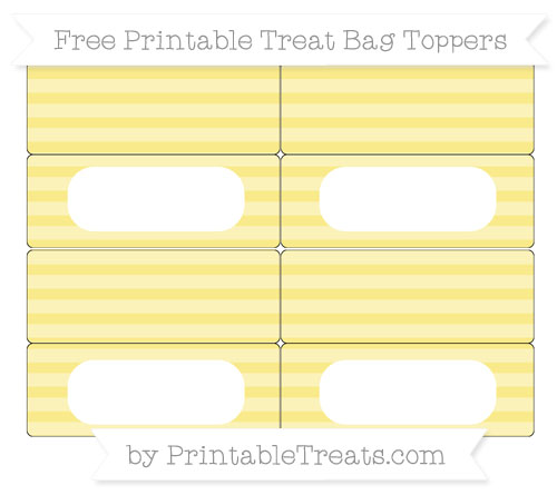 Free Pastel Yellow Horizontal Striped Simple Treat Bag Toppers