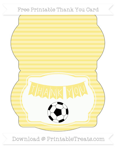 Free Pastel Yellow Horizontal Striped Soccer Thank You Card