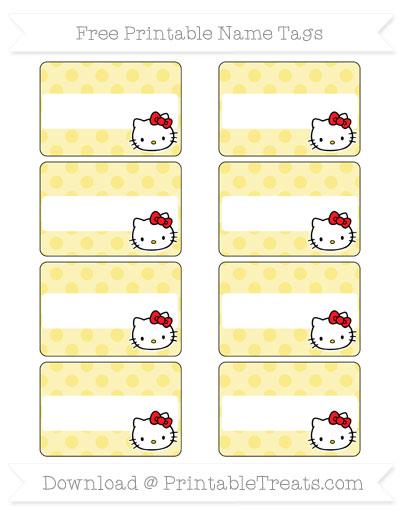 Free Pastel Yellow Polka Dot Hello Kitty Name Tags