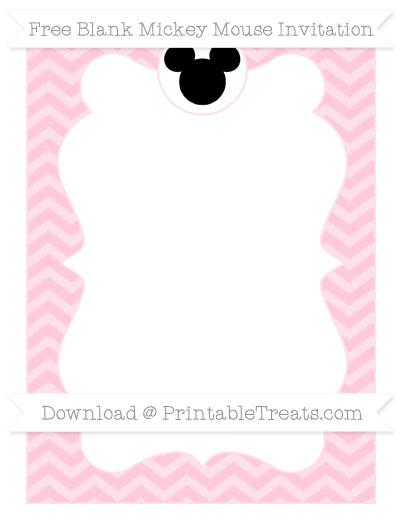 Free Pink Chevron Blank Mickey Mouse Invitation Printable Treatscom