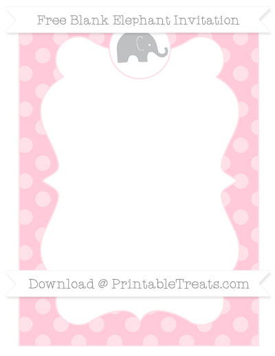 Free Pink Dotted Pattern Blank Elephant Invitation ...