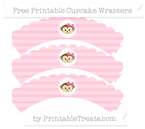 Free Pink Horizontal Striped Girl Monkey Scalloped Cupcake Wrappers