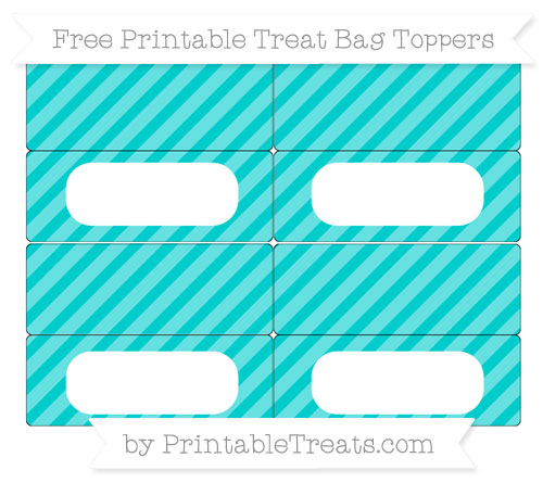 photograph relating to Free Printable Treat Bag Toppers referred to as No cost Robin Egg Blue Diagonal Striped Very simple Address Bag