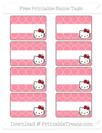 free salmon pink quatrefoil pattern hello kitty name tags