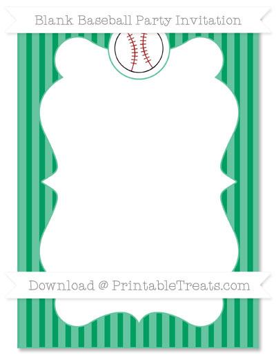Free Shamrock Green Thin Striped Pattern Blank Baseball Invitation