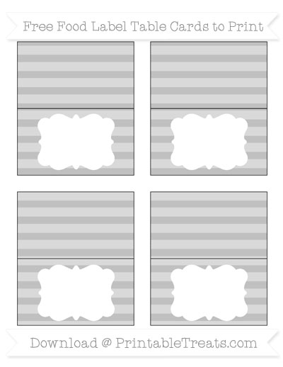 Free Silver Horizontal Striped Simple Food Labels