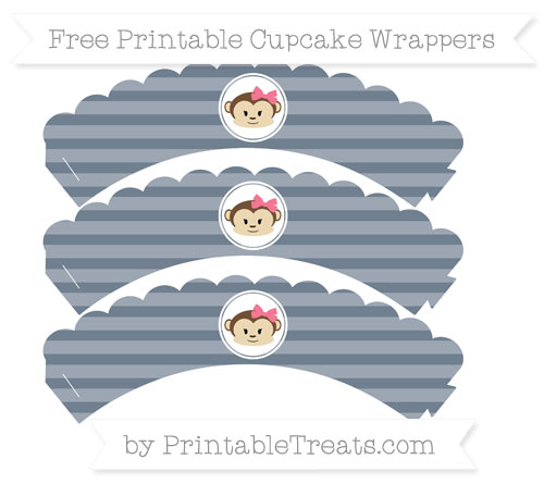 Free Slate Grey Horizontal Striped Girl Monkey Scalloped Cupcake Wrappers
