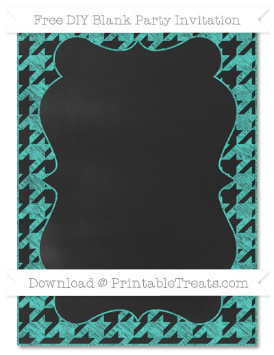 Free Turquoise Houndstooth Pattern Chalk Style Blank Invitation