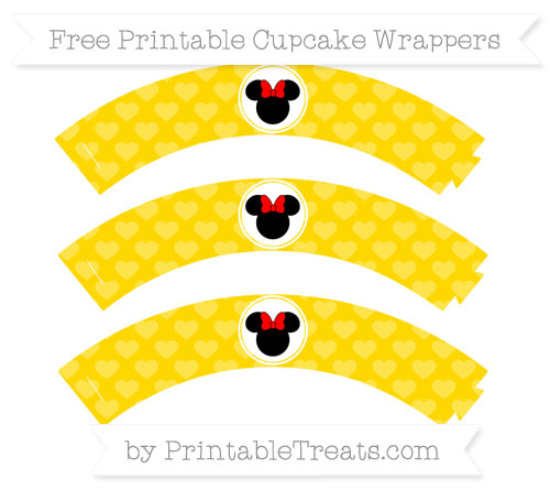 Free Gold Heart Pattern Minnie Mouse Cupcake Wrappers