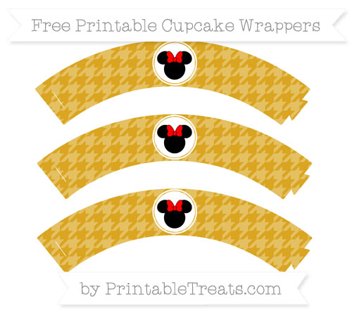 Free Goldenrod Houndstooth Pattern Minnie Mouse Cupcake Wrappers
