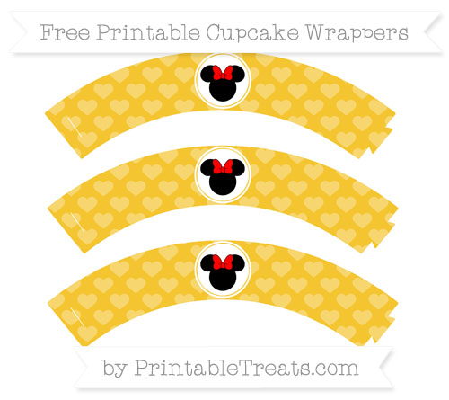 Free Saffron Yellow Heart Pattern Minnie Mouse Cupcake Wrappers