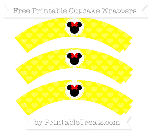 Free Yellow Heart Pattern Minnie Mouse Cupcake Wrappers