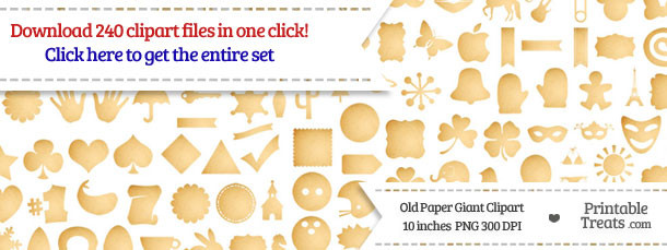 240 Old Paper Giant Clipart Set Download