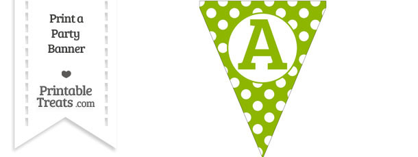 Apple Green Polka Dot Pennant Flag Capital Letter A