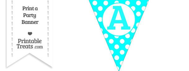 Aqua Blue Polka Dot Pennant Flag Capital Letter A