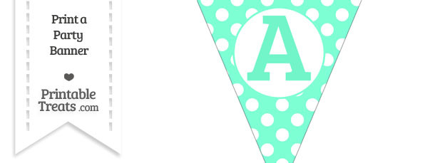 Aquamarine Polka Dot Pennant Flag Capital Letter A
