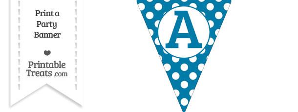 Cerulean Blue Polka Dot Pennant Flag Capital Letter A
