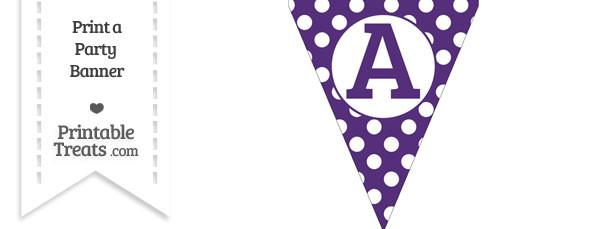 Dark Purple Polka Dot Pennant Flag Capital Letter A