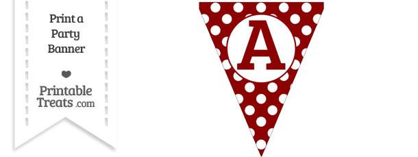 Dark Red Polka Dot Pennant Flag Capital Letter A