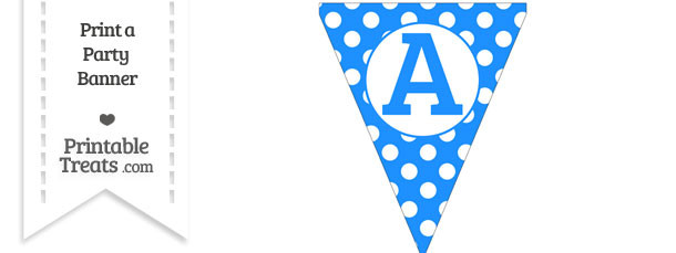 Dodger Blue Polka Dot Pennant Flag Capital Letter A