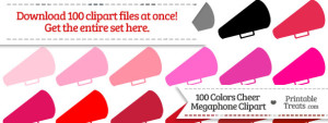 100 Colors Cheer Megaphone Clipart Download