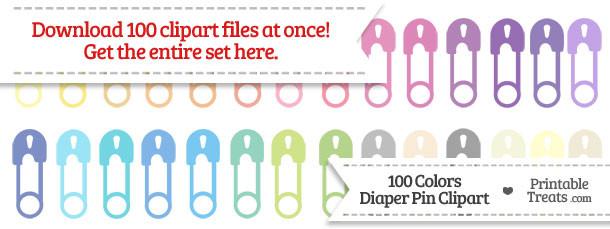 100 Colors Diaper Pin Clipart Download