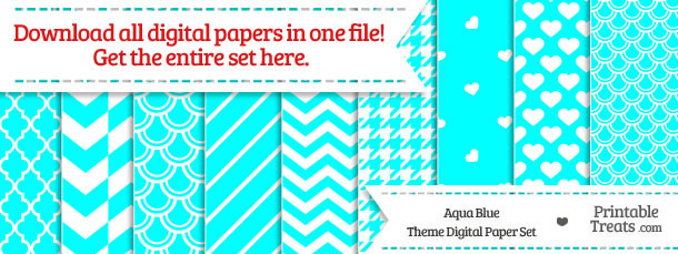 26 Aqua Blue Digital Paper Set Download