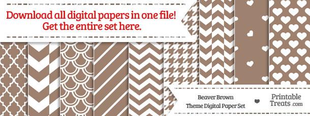 26 Beaver Brown Digital Paper Set Download
