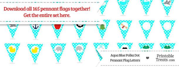 Aqua Blue Polka Dot Pennant Flag Letters Download