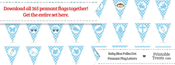 Baby Blue Polka Dot Pennant Flag Letters Download