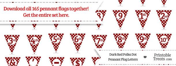 Dark Red Polka Dot Pennant Flag Letters Download