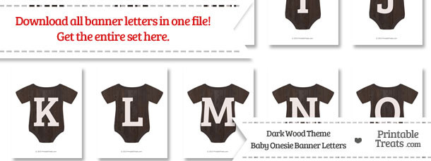 Dark Wood Baby Onesie Shaped Banner Letters Download