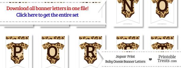 Jaguar Print Baby Onesie Bunting Banner Letters Download