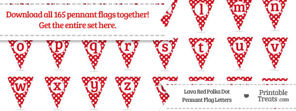 Lava Red Polka Dot Pennant Flag Letters Download