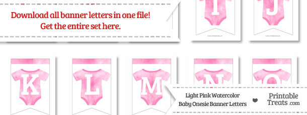 Light Pink Watercolor Baby Onesie Bunting Banner Letters Download